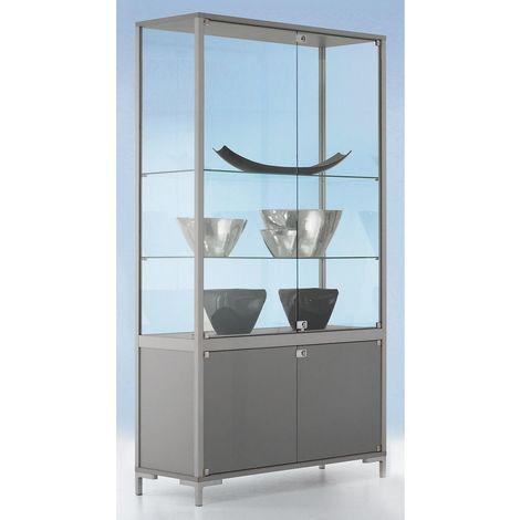 Vitrine compartimentée LINK - vitrage sur 4 côtés, avec armoire inférieure - h x l x p 1860 x 1000 x 400 mm - Coloris cadre: Anodisé argentin