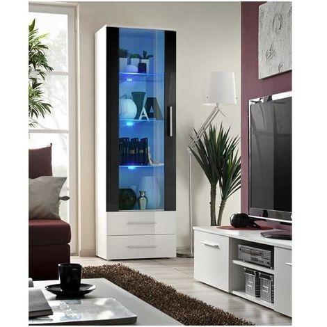 Vitrine NEO 1 design, coloris blanc et noir brillant + LED. Meuble moderne et tendance pour votre salon.