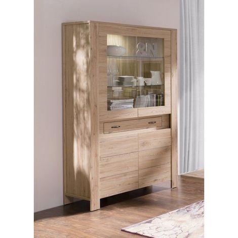 Vitrine Vaisselier Argentier Massimo Coloris Chene Dab Bordeaux Led Meuble Design Pour Votre Salle A Manger