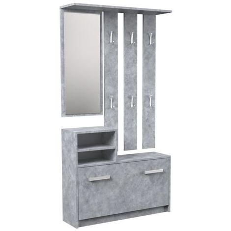 VITTORIA | Meuble d'entrée contemporain 6 crochets/miroir/2 niches/rangement chaussures 180x85x24 | Vestiaire | Porte manteau | beton - beton