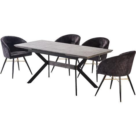 Vittorio Velvet Chair & Rocco Dining Table (BLACK/ASH & BLACK)