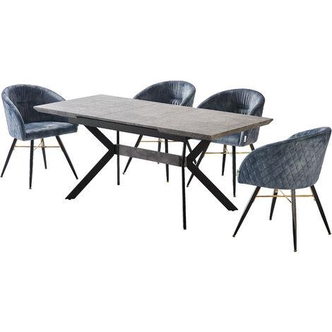 Vittorio Velvet Chair & Rocco Dining Table (BLACK/ASH & GREY)