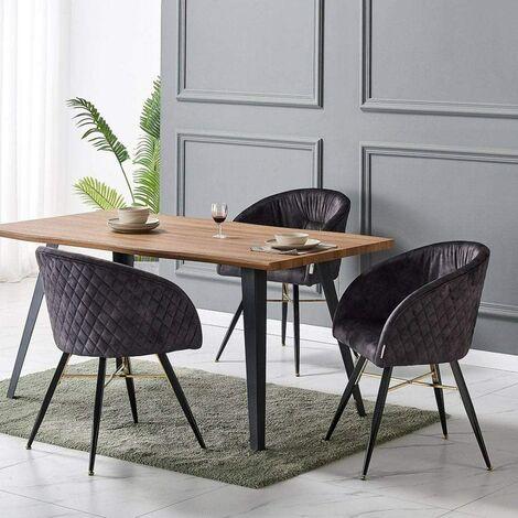 Vittorio Velvet Chair & Rocco Dining Table (OAK & BLACK)