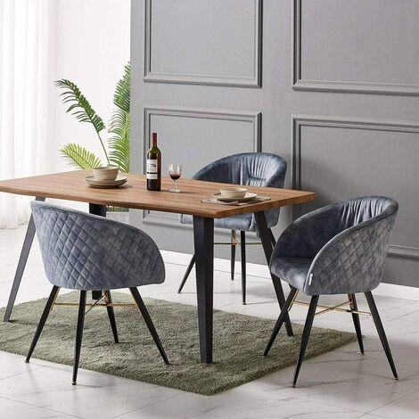 Vittorio Velvet Chair & Rocco Dining Table (OAK & GREY)