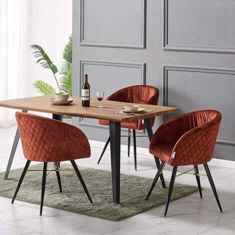 Vittorio Velvet Chair & Rocco Dining Table (OAK & RUST)