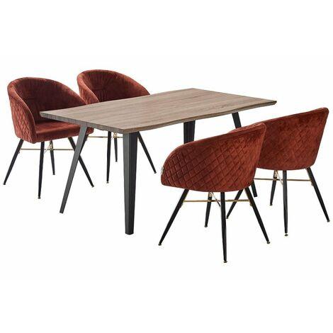 Vittorio Velvet Chair & Rocco Dining Table (WALNUT & RUST)