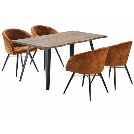 Vittorio Velvet Chair & Rocco Dining Table (WALNUT & TAN)
