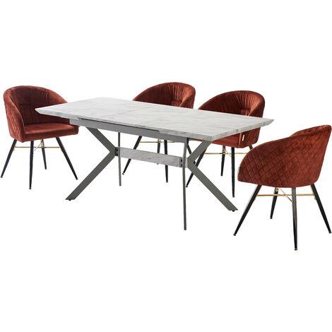 Vittorio Velvet Chair & Rocco Dining Table (WHITE & RUST)