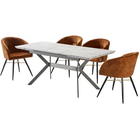 Vittorio Velvet Chair & Rocco Dining Table (WHITE & TAN)