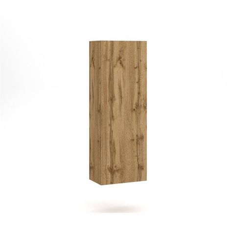 VIVIO | Étagère colonne à suspendre style contemporain salon/séjour | 140x40x30cm | Étagère murale avec porte | Aspect bois | Chêne - Chêne