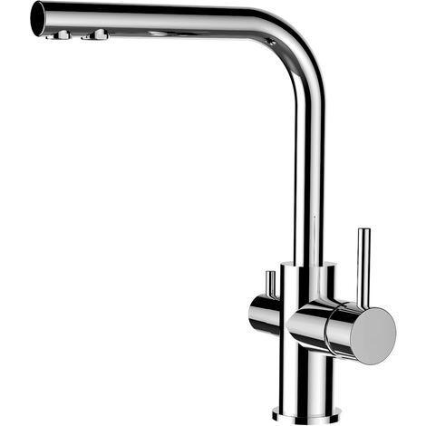 VIZIO Mitigeur de cuisine 3 voies chrome robinet bec pivotant 360 utiliser avec filtres sous evier