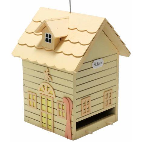 Vogelhaus Futter Villa SKIHÜTTE hängend Holz gelb