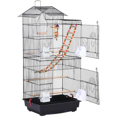 Vogelkäfig Wellensittich Kanarien Käfig Vogelhaus mit Vogelspelzeug Schwarz