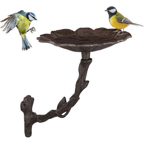 Vogeltränke aus Gusseisen, Blüte, Gartendeko, Wandmontage, Vogelfutterstelle, Wasserschale f. Wildvögel, braun