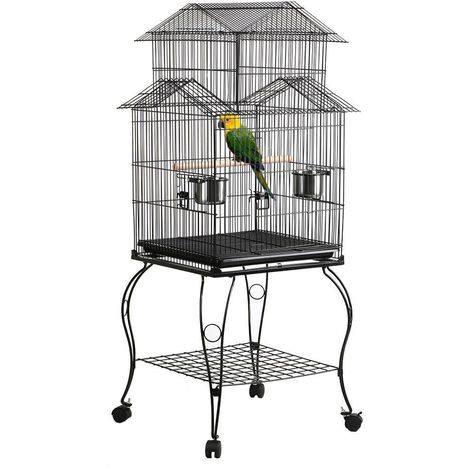 Vogelvoliere Metall Vogelkäfig mit Ständer Wellensittich Käfig Vogelhaus in 3 Form aufbauen