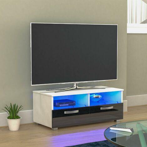 Vogue 2 Drawer LED TV Unit, White & Black