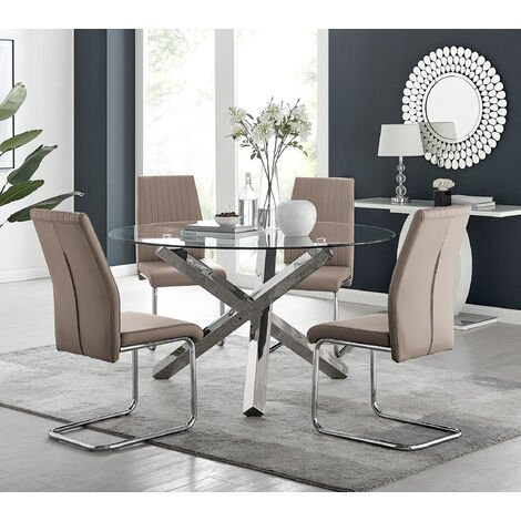 Vogue Large Round Chrome Metal Clear Glass Dining Table And 4/6 Lorenzo Dining Chairs Set