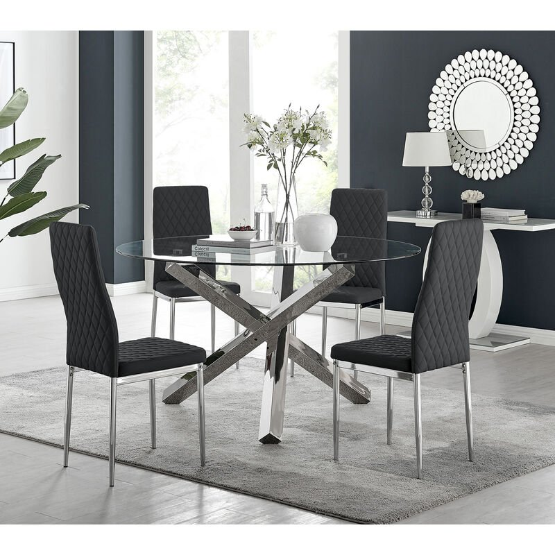 Furniture Vogue Large Round Chrome Clear Glass 4 6 Seater Dining Table And Leather Chairs Home Furniture Diy Breadcrumbs Ie