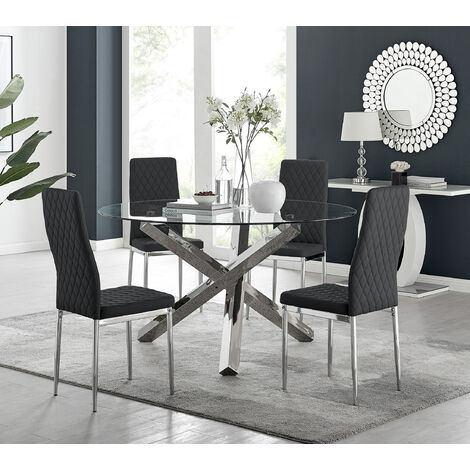 Vogue Large Round Chrome Metal Clear Glass Dining Table And 4/6 Milan Dining Chairs Set
