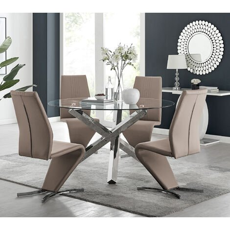 Vogue Large Round Chrome Metal Clear Glass Dining Table And 4/6 Willow Dining Chairs Set