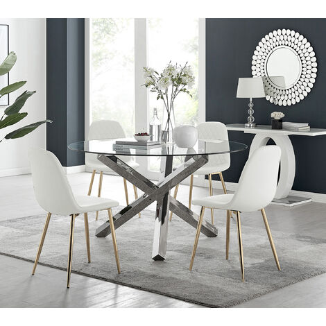 """main image of """"Vogue Large Round Chrome Metal Clear Glass Dining Table And 4 or 6 Corona Gold Dining Chairs Set"""""""