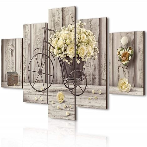 Vogue quadro su legno 5 pezzi Yellow Roses 66x115 cm