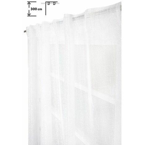 Voilage 135 x 300 cm à Galon Fronceur Pattes Cachées Grande Hauteur Fil Lurex Argenté Tissé Blanc Blanc - Blanc