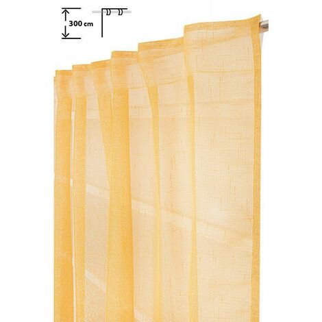 Voilage 135 x 300 cm à Galon Fronceur Pattes Cachées Grande Hauteur Fil Lurex Argenté Tissé Jaune Orangé Orange - Orange