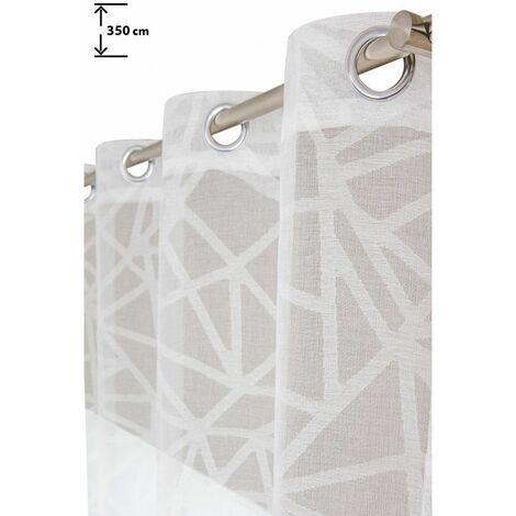 Voilage 135 x 350 cm à Oeillets Grande Hauteur Effet Naturel Fil Rasé Motifs Géométriques Uni Blanc Blanc - Blanc