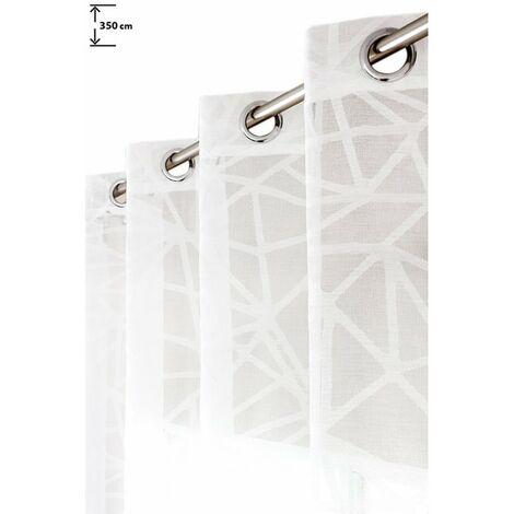 Voilage 135 x 350 cm Jacquard Grande Hauteur à Oeillets Motifs Géométriques Blanc Blanc - Blanc