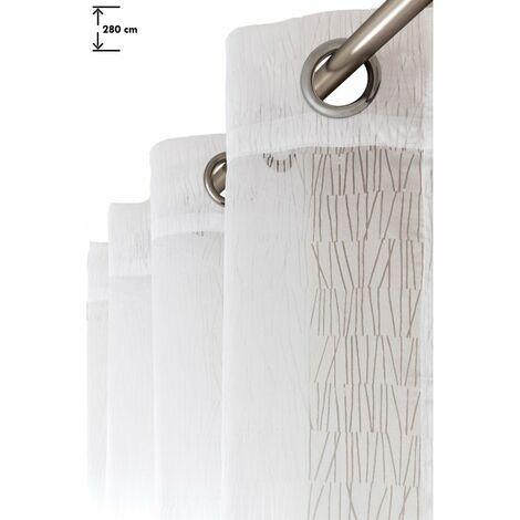 Voilage 140 x 280 cm à Oeillets Grande Hauteur Motif Lignes Effet Dévoré Verticales Blanc Blanc - Blanc