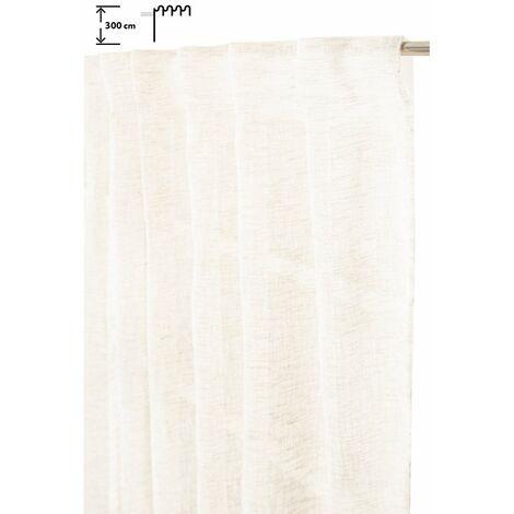 Voilage 140 x 300 cm Galon Fronceur Pattes Cachées Grande Hauteur Effet Lin Uni Naturel Naturel - Naturel
