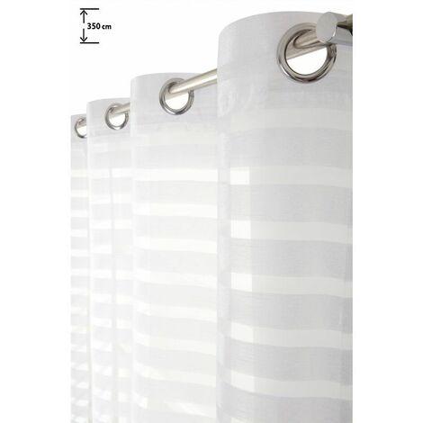 Voilage 140 x 350 cm à Oeillets Grande Hauteur Rayures Horizontales Blanc Blanc - Blanc