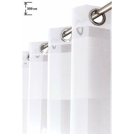 Voilage 140 x 350 cm à Oeillets Trés Grande Hauteur Rayures Horizontales Blanc Blanc - Blanc