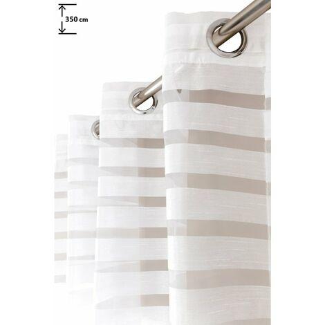 Voilage 140 x 350 cm à Oeillets Très Grande Hauteur Rayures Horizontales Effet Soie Blanc Blanc - Blanc