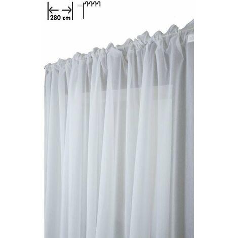 Voilage 280 X 160 cm à Galon Fronceur Grande Largeur Mat Effet Légèrement Froissé Blanc Blanc - Blanc