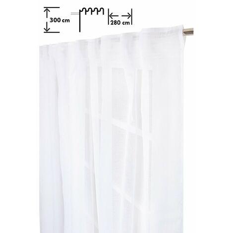 Voilage 280 x 300 cm Galon Fronceur Pattes Cachées Grande Largeur Grande Hauteur Effet Naturel Uni Blanc Blanc - Blanc