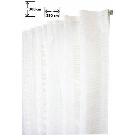 Voilage 280 x 300 cm Galon Fronceur Pattes Cachées Grande Largeur Grande Hauteur Rayures Horizontales Tissées Blanc Blanc - Blanc