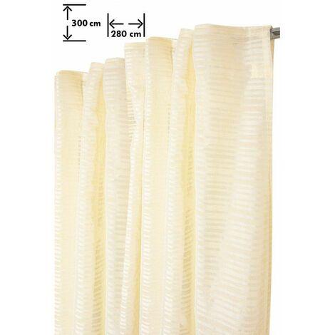 Voilage 280 x 300 cm Galon Fronceur Pattes Cachées Grande Largeur Grande Hauteur Rayures Horizontales Tissées Ivoire Ecru - Ecru