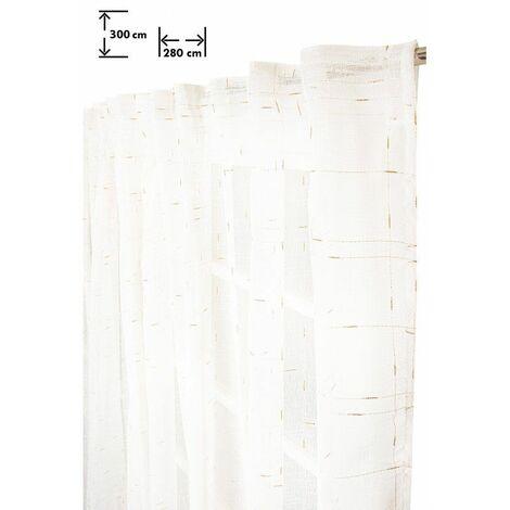 Voilage 280 x 300 cm Galon Fronceur Pattes Cachées Grande Largeur Grande Hauteur Rayures Or Tissées Croisées Blanc Blanc - Blanc
