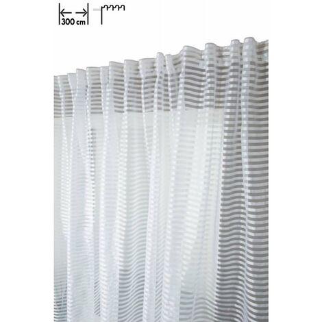 Voilage 300 x 160 cm à Galons Fronceurs Grande Largeur Brillant à Fines Rayures Horizontales Blanc Blanc - Blanc