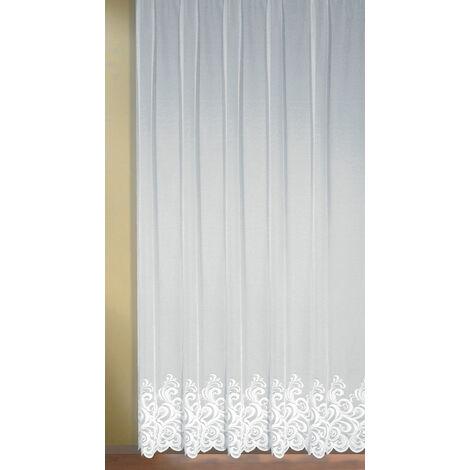 Voilage à Volutes Blanc 300 x 245 cm - Blanc