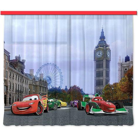 Voilage Cars à Londres Disney - 180 x 160cm - 2 parties