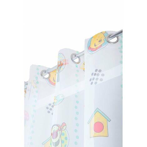 Voilage Chambre Enfant 145 x 245 cm à Oeillets Winnie L'Ourson et ses Amis Blanc