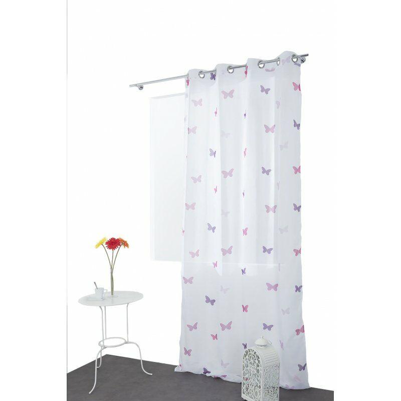 Voilage Chambre Enfant Filles 140 cm x 280 cm Grande Hauteur à Oeillets à  Motif Imprimé Papillons Blanc Rose Violet Blanc