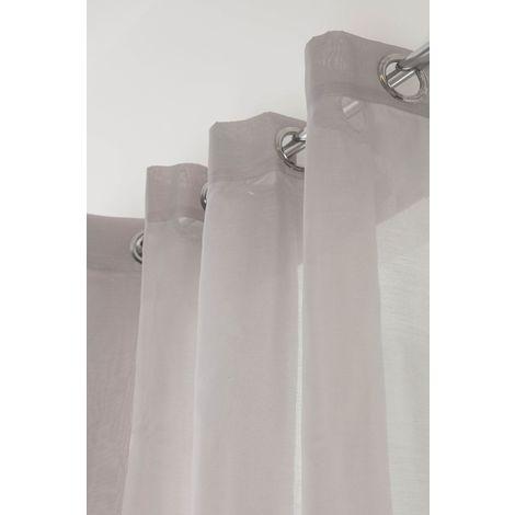 Voilage Classique Grande Largeur 14 Oeillets 280 x 240 cm Uni Taupe Taupe