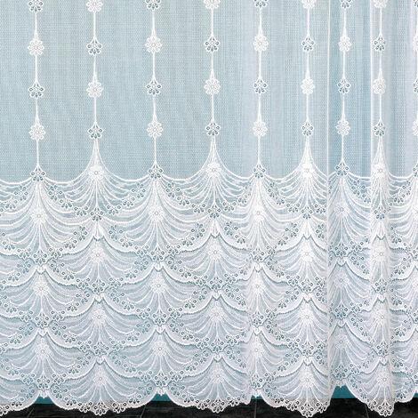 Voilage dentelle à fleurs et galon fronceur Blanc l175 x h180 cm - Blanc