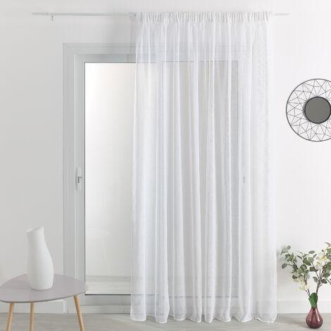 Voilage effet lin à galon fronceur Blanc 290 x 180 cm - Blanc