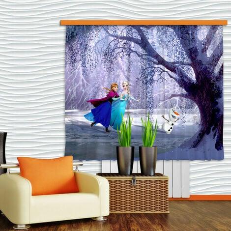Voilage Elsa & Anna La Reine des Neiges Disney Largeur 2x90 cm x Hauteur 160 cm