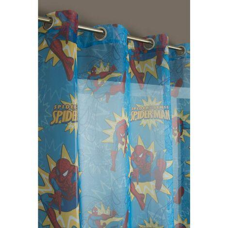 Voilage Enfant à Oeillets 145 x 280 cm Motif Imprimé Spiderman Multicolore